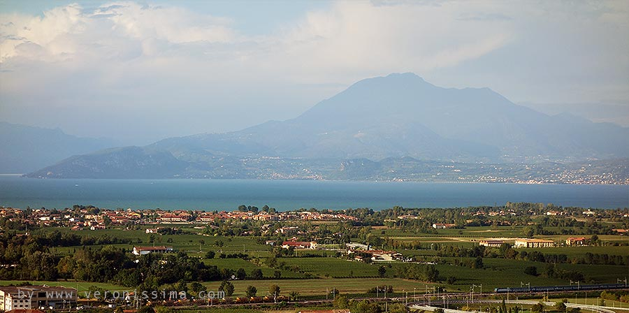 Lugana region seen from above. Lake Garda on the baclground